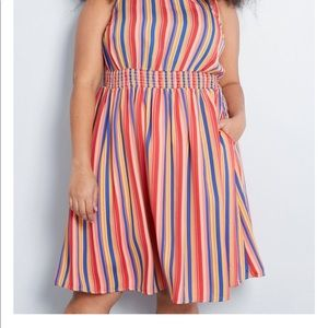 Striped dress with waist cinching detail